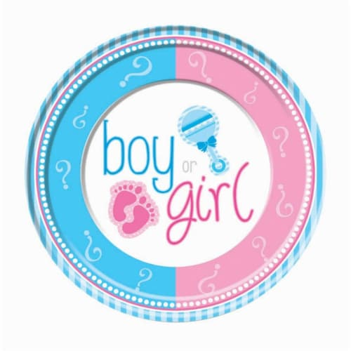Forum 301581 Gender Reveal 9 in. Lunch Plates - 8 Piece Perspective: front