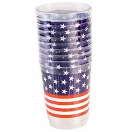 Forum Novelties 311211 Plastic Patriotic Tall Tumbler - 10 Count Perspective: front