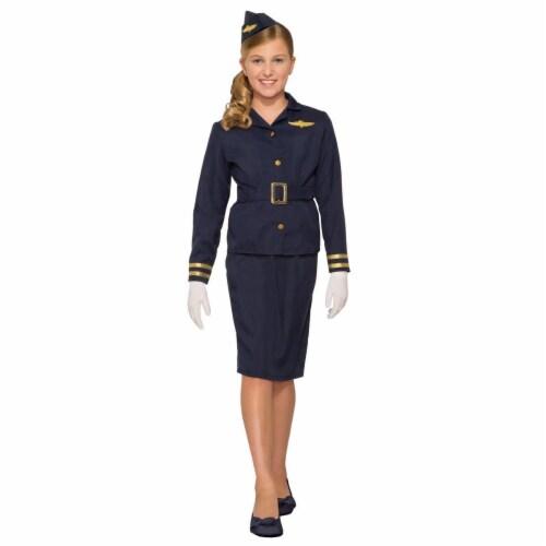 Forum Novelties 277402 Halloween Girls Stewardess Costume - Medium Perspective: front
