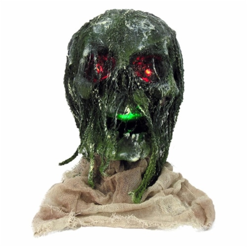 Forum Novelties 277710 Halloween Light Up Rotten Skull with Base - Nominal Size Perspective: front