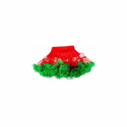 BuySeasons 402400 Girls Red & Green Christmas Tutu, Medium Perspective: front