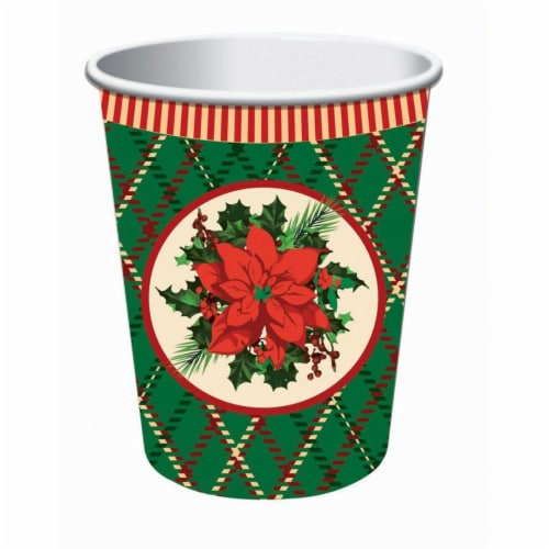 Forum Novelties 9 oz Christmas Plaid Cup, Pack of 8 Perspective: front