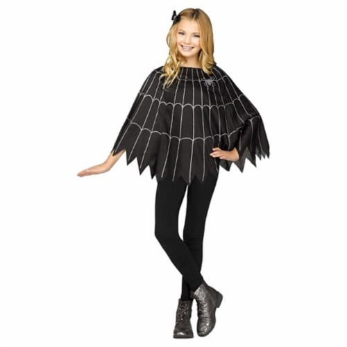Forum Novelties 414291 Child Spider Poncho Girls Costume, One Size Perspective: front