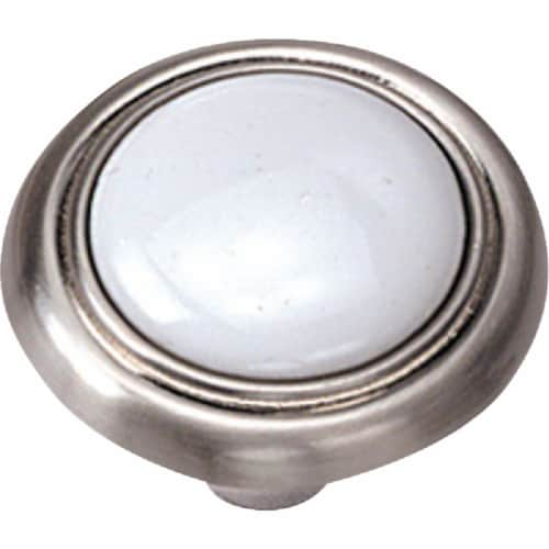 Laurey Satin Chrome & White Porcelain Accent 1-1/4 In. Cabinet Knob 15438 Perspective: front