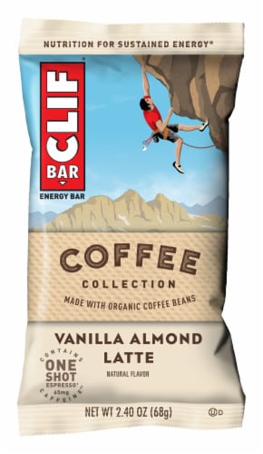 Clif Bar Coffee Collection Vanilla Almond Latte Energy Bar Perspective: front