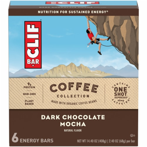 Clif Bar Coffee Collection Dark Chocolate Mocha Energy Bars Perspective: front