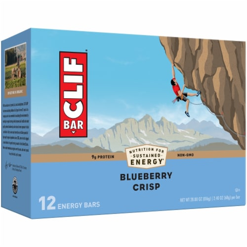 Clif Bar Blueberry Crisp Protein Energy Bars Perspective: front