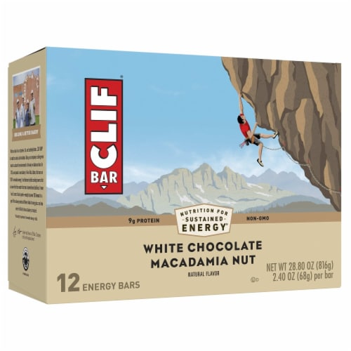 Clif Bar White Chocolate Macadamia Nut Energy Bars Perspective: front