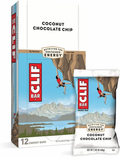 Clif Coconut Chocolate Chip Snack Bar, 2.4 Ounce -- 192 per case. Perspective: front