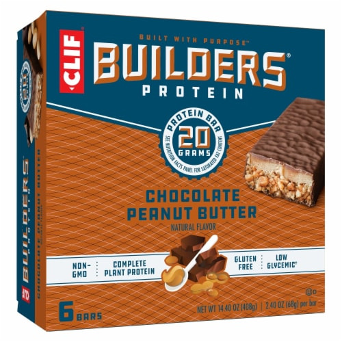 Clif Bar Builders Chocolate Peanut Butter Protein Bars Perspective: front