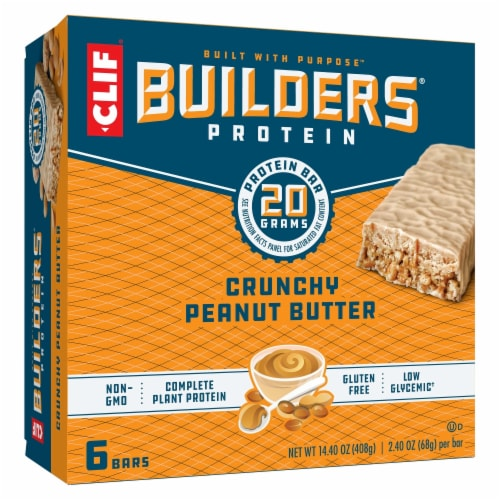 Clif Builder's Gluten Free Crunchy Peanut Butter Protein Bars Perspective: front