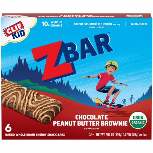 Clif Kid ZBar Chocolate Peanut Butter Brownie Baked Whole Grain Energy Snack Bars Perspective: front