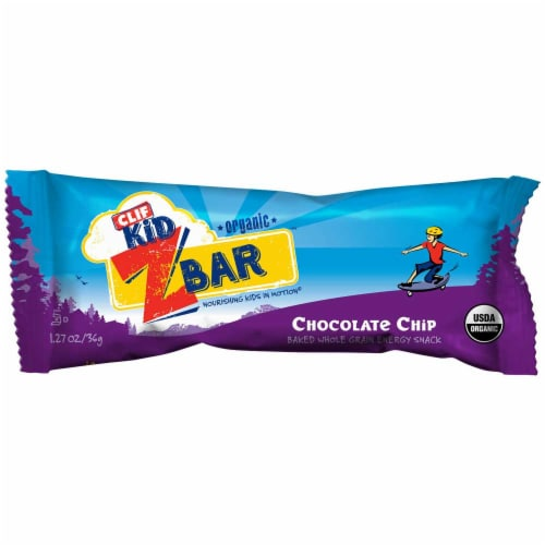 Clif Kid Zbar Organic Chocolate Chip Baked Whole Grain Energy Snack Bars Perspective: front
