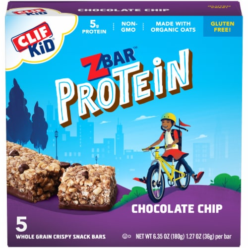 Clif Kid ZBar Protein Chocolate Chip Whole Grain Crispy Snack Bars Perspective: front