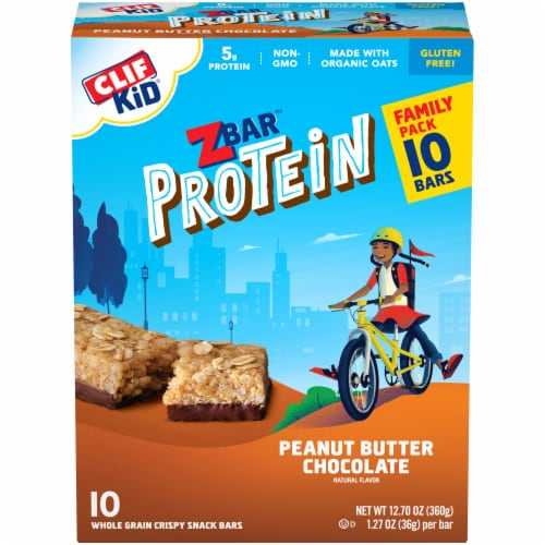 Clif Z Bar Kid Protein Peanut Butter Chocolate Whole Grain Crispy Snack Bars Perspective: front