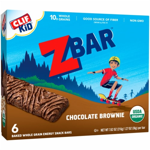 Clif Kid Zbar Organic Chocolate Brownie Snack Bars Perspective: front