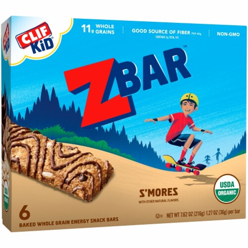 Clif Kid Zbar S'mores Baked Whole Grain Snack Bars Perspective: front