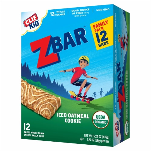 Clif Z Bar Kid Iced Oatmeal Cookie Baked Whole Grain Energy Snack Bars Perspective: front
