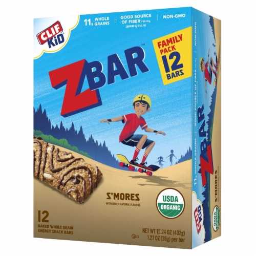 Clif Kid Z Bar S'mores Snack Bars 12 Count Perspective: front