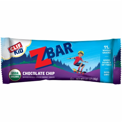 Clif Kid ZBar Organic Chocolate Chip Energy Snack Bar Perspective: front