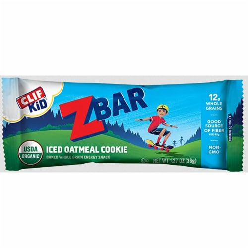 Clif Kid ZBar Iced Oatmeal Cookie Snacks Bar Perspective: front