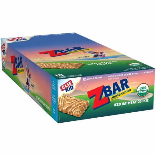 Clif Kid Z Bar Iced Oatmeal Cookie Baked Whole Grain Energy Snack Bars Perspective: front