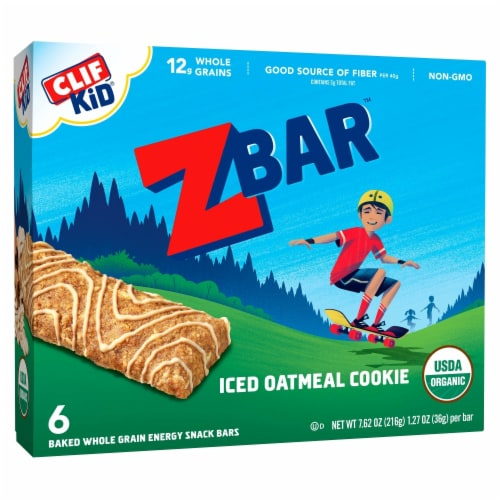 Clif Kid Organic ZBar Iced Oatmeal Cookie Snack Bars Perspective: front