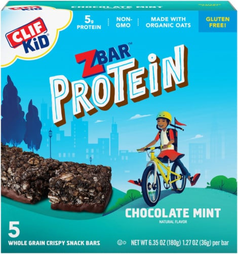 Clif Kid ZBar Protein Chocolate Mint Whole Grain Crispy Snack Bars Perspective: front