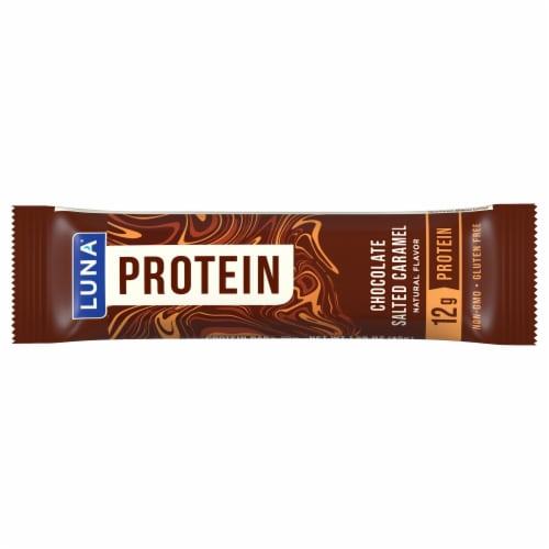 Luna Protein Chocolate Salted Caramel Protein Bar Perspective: front