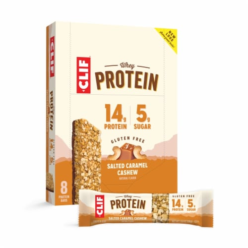 Clif Salted Caramel Cashew Whey Protein Bars Perspective: front
