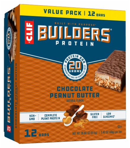 Builders Chocolate Peanut Butter Protein Bars Perspective: front