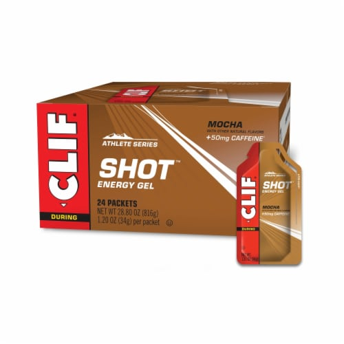Clif Shot Athlete Series Mocha Energy Gel Packets Perspective: front