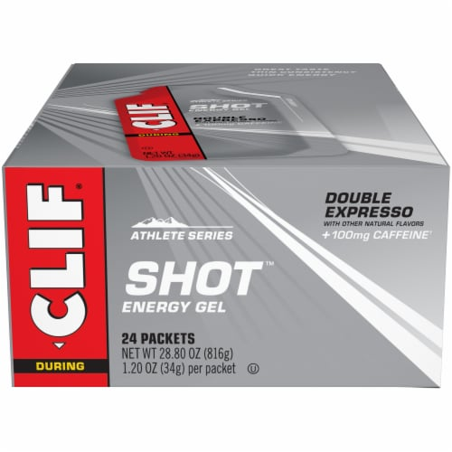 Clif Shot During Athlete Series Double Expresso Energy Gel Packets Perspective: front