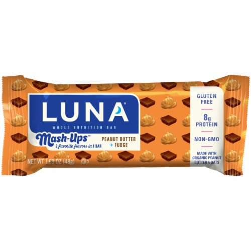 Luna Gluten-Free Mash-Ups Peanut Butter and Fudge Whole Nutrition Bar Perspective: front