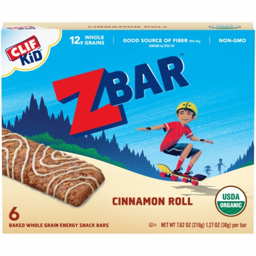 Clif Kid Z Bar Cinnamon Roll Energy Snack Bars Perspective: front