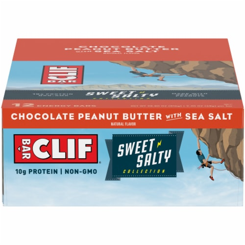 Clif Bar Sweet & Salty Chocolate Peanut Butter with Sea Salt Energy Bars Perspective: front
