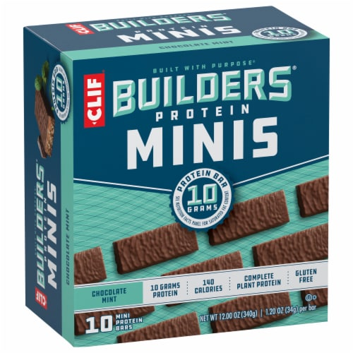 Clif Builder's Minis Chocolate Mint Protein Bars Perspective: front