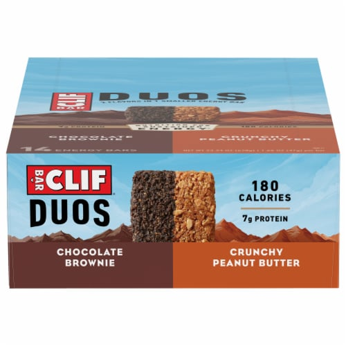 Clif Bar® Duos Chocolate Brownie + Crunchy Peanut Butter Energy Bars Perspective: front
