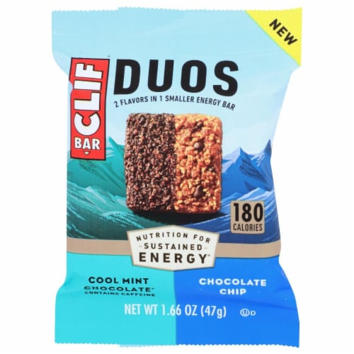 Clif Bar Duos Cool Mint Chocolate + Chocolate Chip Energy Bar Perspective: front