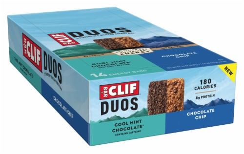 Clif Bar Duos Cool Mint Chocolate + Chocolate Chip Energy Bars Perspective: front