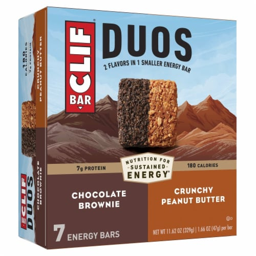 Clif Bar Duos Chocolate Brownie + Crunchy Peanut Butter Energy Bar Perspective: front