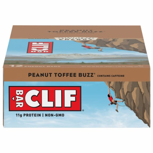 Clif Bar Peanut Toffee Buzz Energy Bars Perspective: front