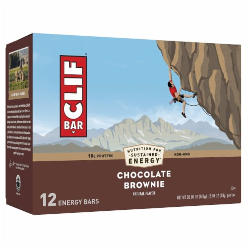 Clif Bar Chocolate Brownie Energy Bars Perspective: front