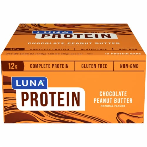 Luna Chocolate Peanut Butter Protein Bars 12 Count Perspective: front
