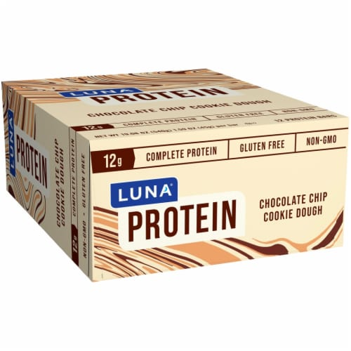 Luna Chocolate Chip Cookie Dough Protein Bars 12 Count Perspective: front