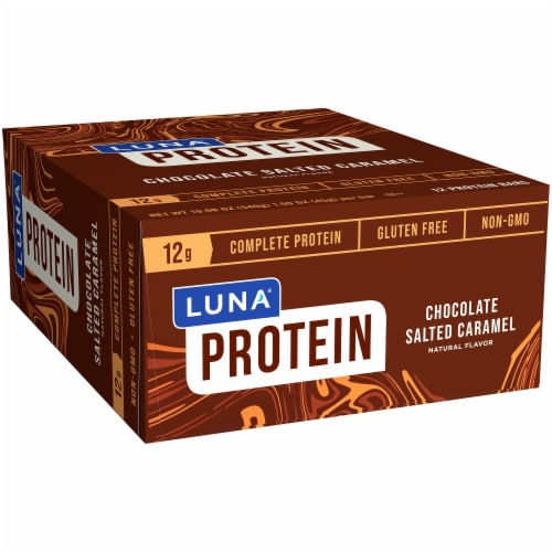 LUNA Protein Chocolate Salted Caramel Bars 12 Count Perspective: front