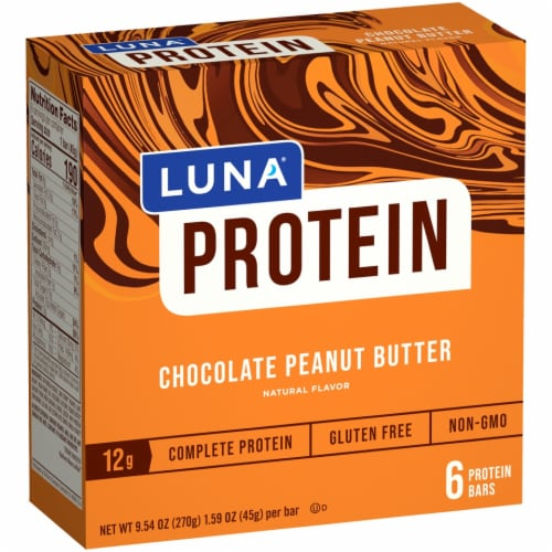 Luna Chocolate Peanut Butter Protein Bars Perspective: front