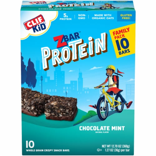 Clif Kid ZBar Protein Chocolate Mint Snack Bars Perspective: front
