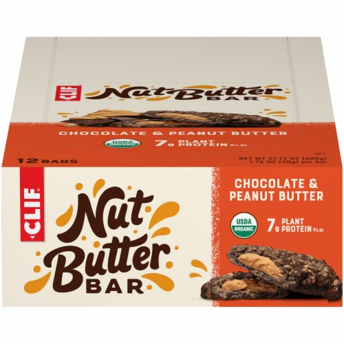 Clif Nut Butter Chocolate & Peanut Butter Bars Perspective: front