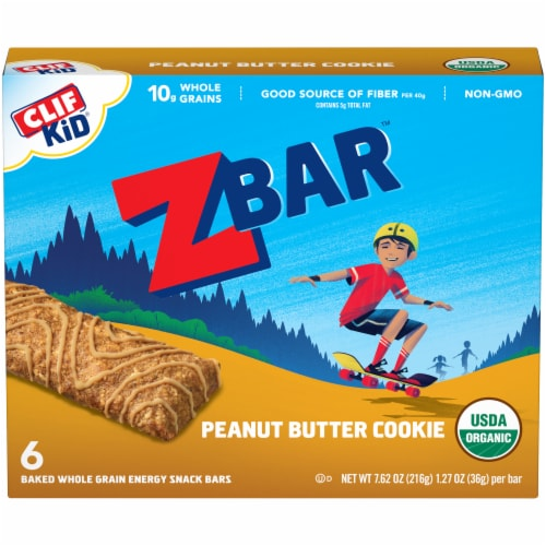 Clif Z Bar Organic Peanut Butter Cookie Baked Whole Grain Energy Snack Bars Perspective: front
